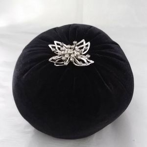 Other - Pincushion Black Velvet Vintage Rhinestone Brooch